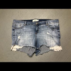 Torrid distressed jean shorts